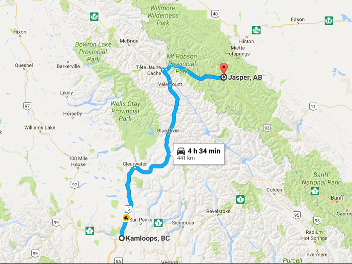 Map Of Canada Showing Kamloops.A Canadian Road Trip Kamloops To Jasper Diary Of A Tourist